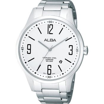 ALBA 雅仕時尚藍寶石水晶腕錶-銀 VJ42-X096S