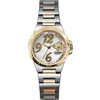 LICORNE蝴蝶美人珍珠晶鑽腕錶-半金LB906BTWA-1