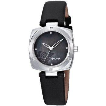 LICORNE浪漫玫瑰珍珠貝時尚腕錶-黑LI011LWBB-S