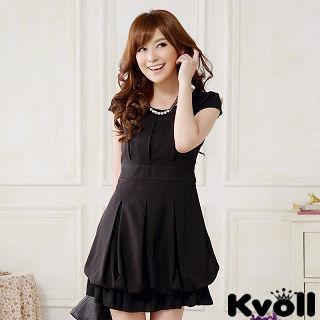 【KVOLL大尺碼】黑色圓領綁帶燈籠連衣裙JK-0922