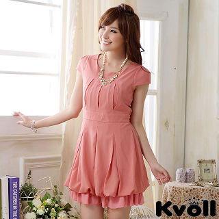 【KVOLL大尺碼】粉色圓領綁帶燈籠連衣裙JK-0922