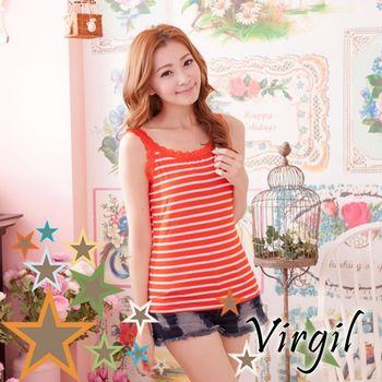 【Virgil 運動內搭衣】簡單生活蕾絲肩帶背心(橘紅)(2件組)