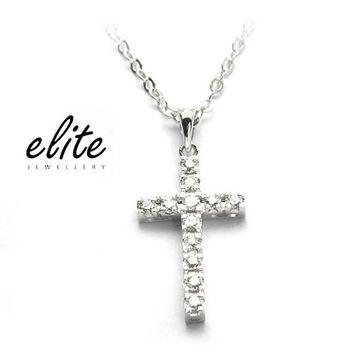 Elite伊麗珠寶 925純銀項鍊 - 經典鑽十字