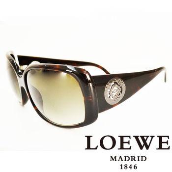 LOEWE 羅威圓形貴氣經典LOGO太陽眼鏡 SLW695-09XK(琥珀)