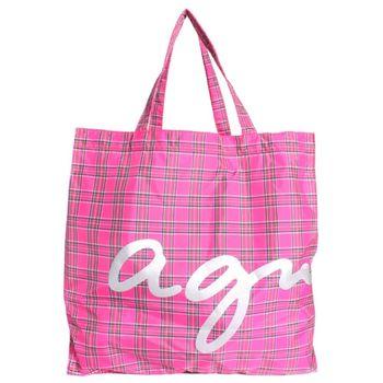 agnes b.logo交叉線條手提袋(桃紅/小)-特網