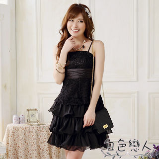 【白色戀人中大尺碼】黑色蕾絲綁帶蛋糕裙小禮服JK-0010