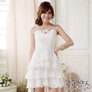 【白色戀人中大尺碼】白色蕾絲綁帶蛋糕裙小禮服JK-0010