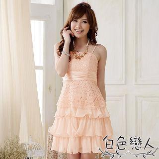 【白色戀人中大尺碼】粉色蕾絲綁帶蛋糕裙小禮服JK-0010
