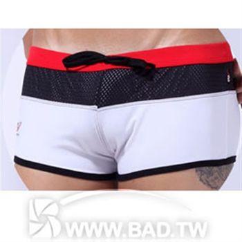 【壞男愛世界】型男網布環繞性感款四角泳褲 黑白