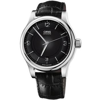 Oris經典三針機械腕錶-黑733.7578.40.54LS