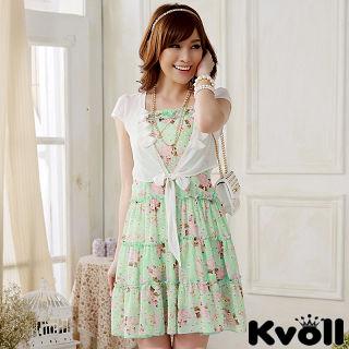 【KVOLL大尺碼】綠色雪紡碎花洋裝+小外套兩件式JK-0818