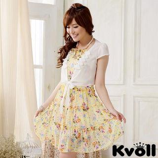 【KVOLL大尺碼】黃色雪紡碎花洋裝+小外套兩件式JK-0818