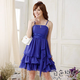 【白色戀人中大尺碼】藍色亮鑽別針蛋糕裙小禮服JK-0019