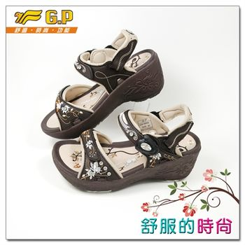 【G.P 時尚精美水鑽高台女鞋】楔型涼鞋G9188W-30(咖啡)