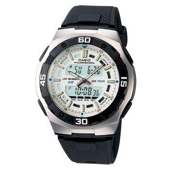 CASIO 城市遊俠運動膠帶雙顯錶(白)