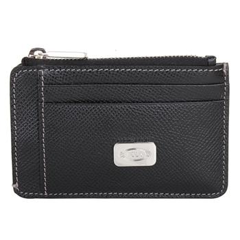 TOD'S  牛皮壓紋拉鍊鑰匙卡夾零錢包(黑)