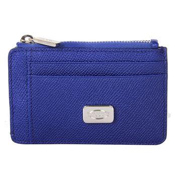 TOD'S  牛皮壓紋拉鍊鑰匙卡夾零錢包(藍)