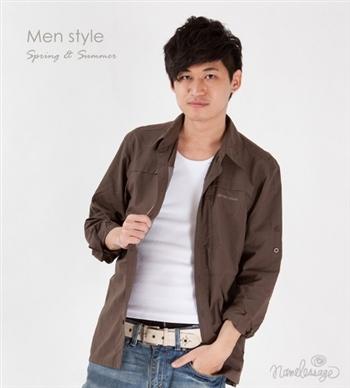 日本namelessage無名世代男抗UV防曬吸濕排汗彈性長袖襯衫