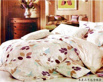 【Luo mandi】 花葉情愫-類天絲雙人三件式枕套+床包組