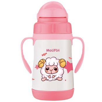 【MoliFun魔力坊】不鏽鋼兒童吸管杯/學習杯260ml-寶貝羊
