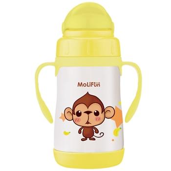 【MoliFun魔力坊】不鏽鋼兒童吸管杯/學習杯260ml俏皮猴
