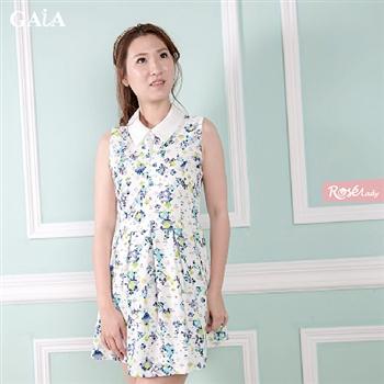 【Rose Lady】夏日度假風無袖小碎花洋裝