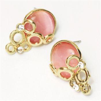 水樣-玫瑰金水噹噹貓眼石耳環 (珍珠白 / 粉紅色) 任選