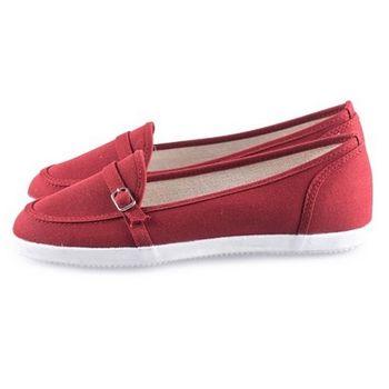 FUFA 造型扣布面懶人鞋(A28)酒紅