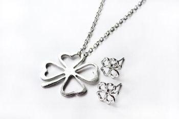 水漾-韓星最愛幸運四葉草亮眼滿分長項鏈/耳環組合