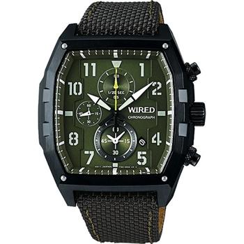 WIRED 翱翔天邊型男三眼計時腕錶-綠 7T92-X259G