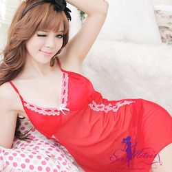 Sexy Meteor 全尺碼-絲緞點東森購物台地址點網紗二件式睡衣(紅E230