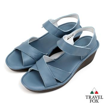 Travel Fox(女) 旅狐鞋 露趾後空微坡跟交叉帶涼鞋