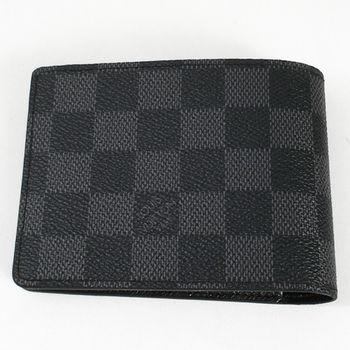 【LV】N62663 黑棋盤格MULTIPLE雙折簡約短夾-預購