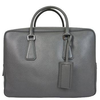 PRADA Saffiano防刮皮革附鎖男士手提包-VS0648