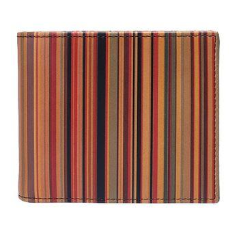 PAUL SMITH彩色直條紋牛皮短夾(橘X紫)AGXA-1032