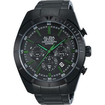 ALBA 魅力時尚三眼計時腕錶-IP黑x綠時標VD53-X150G(AT3603X1)