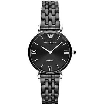 ARMANI Retro 時尚薄型陶瓷女錶-黑AR1487