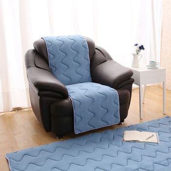 【HomeBeauty】夏季超涼感防潑水沙發保潔墊1人座-暴風藍