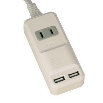 安全達人2孔1插+2個USB座15A轉向延長線2尺AU-1202R