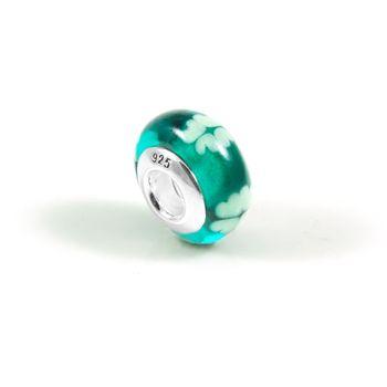Vins時尚創意珠飾手鍊-純銀琉璃綠色幸運草(琉璃系列)