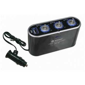 3孔3切車用點煙器+USB充電槽(CRU-18)