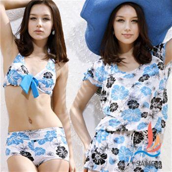 【SANQI三奇】水漾鮮花 三件式比基尼鋼圈(淺藍)SQ13071