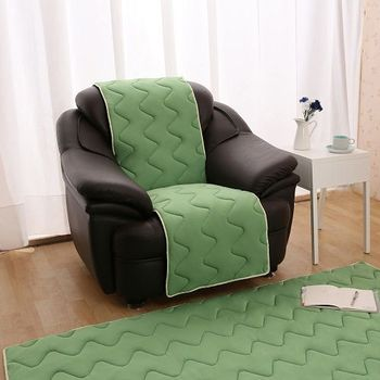 【HomeBeauty】夏季超涼感防蹣抗菌沙發保潔墊S-1人-草綠