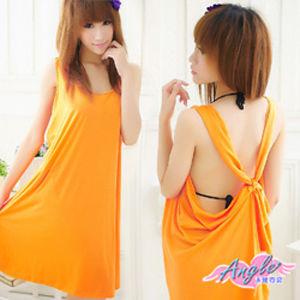 【天使霓裳】泳裝比基尼外搭罩衫 後交叉長版背心(橘)V057橘色