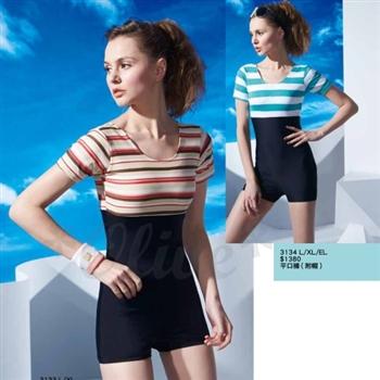 【沙麗品牌】台灣製時尚條紋款短袖平口連身泳裝(現貨+預購)