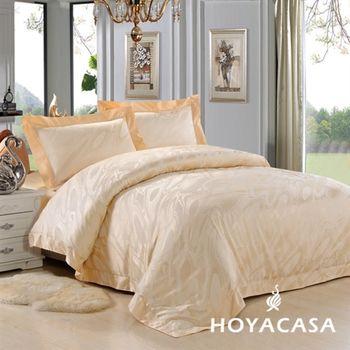 【HOYACASA】片片風采天絲緹花加大四件式床包被套組
