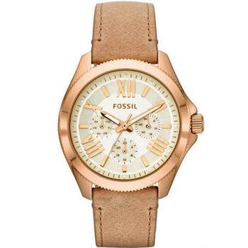 FOSSIL Cecile華麗羅馬三環皮革腕錶 玫瑰金AM4532