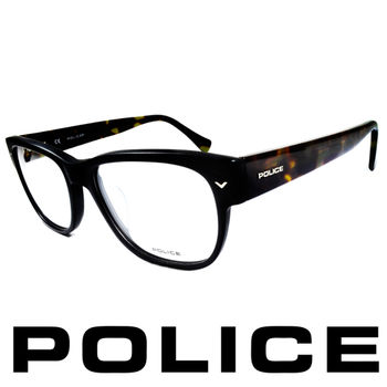 POLICE 個性型男眼鏡-膠框(黑綠) POV1765-703X