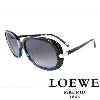 LOEWE 皮革大理石面太陽眼鏡(藍) SLW803-0AB9