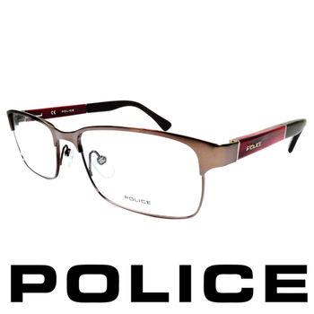 POLICE 眼鏡-金屬框(銀面紅腳) POV8797-K01X